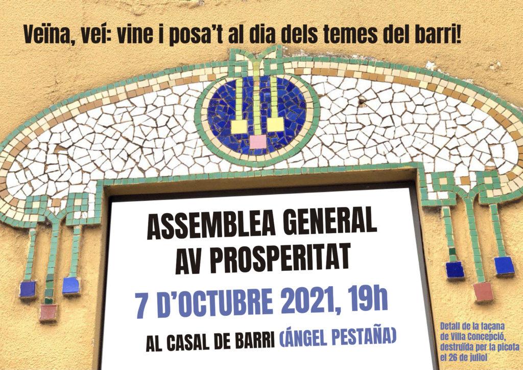El 7 d'octubre, assemblea general de l'AV de Prosperitat